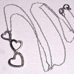 💎 Sterling Silver Black Diamond Heart Necklace